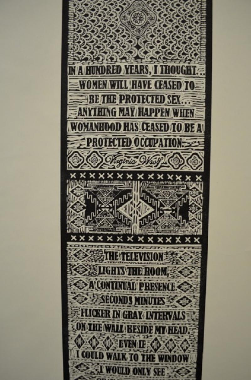 Renee Magnanti, Woven Print: Women Weave II, 2013, Linoleum block print